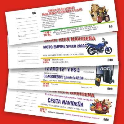 Talonarios sin copia para lotería y rifas (Ref.: 112-130-172-181-180-113)